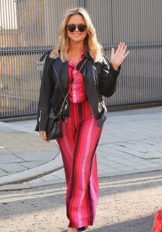 Emily Atack in Striped Trouser Suit - London 02/27/2021