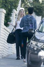 Emma Roberts in Black Jeans and a White Tee - Los Angeles 02/26/2021