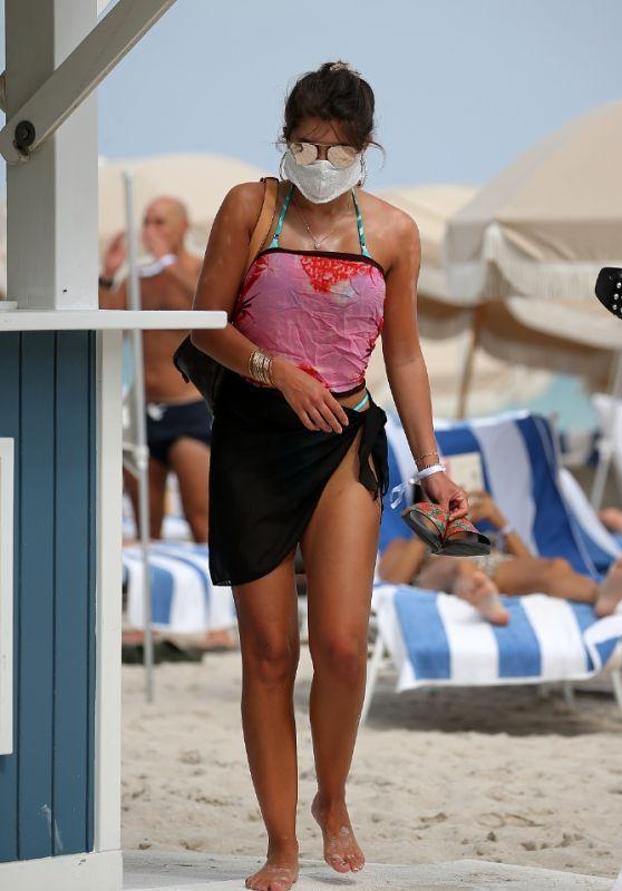 Hannah Ann Sluss on the Beach in Miami 02/17/2021