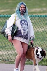Hilary Duff - Takes Her Dog for a Walk in the Park in LA 02/26/2021