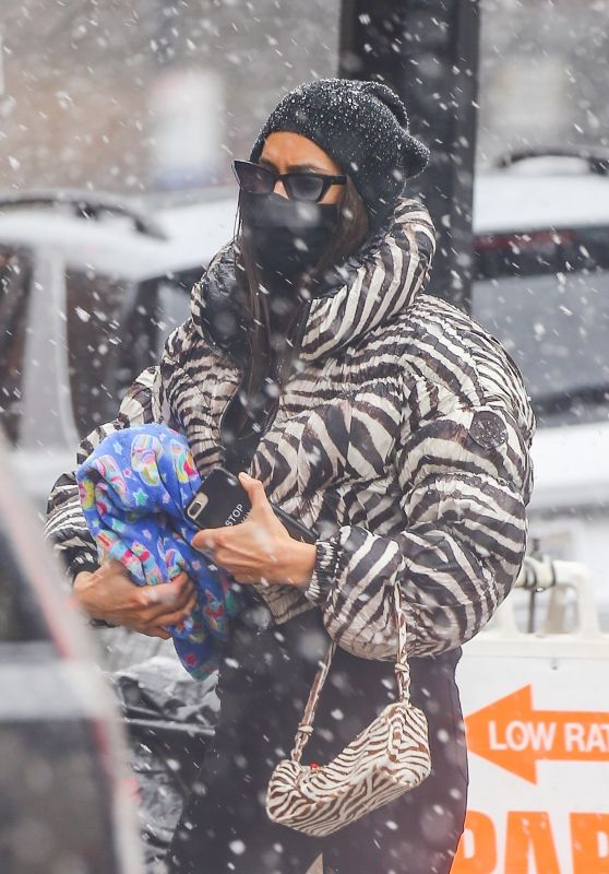 Irina Shayk in a Zebra Puffer Jacket - New York 02/22/2021
