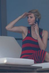 Ivanka Trump in a Red and Black Striped Dress on Her Balcony in Miami 02/08/2021