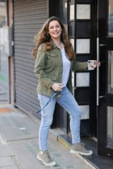 Kelly Brook in a Khaki Jacket and Denim Jeans - London 02/26/2021