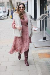 Kelly Brook in a Pink Dress and Leather Boots - London 02/25/2021