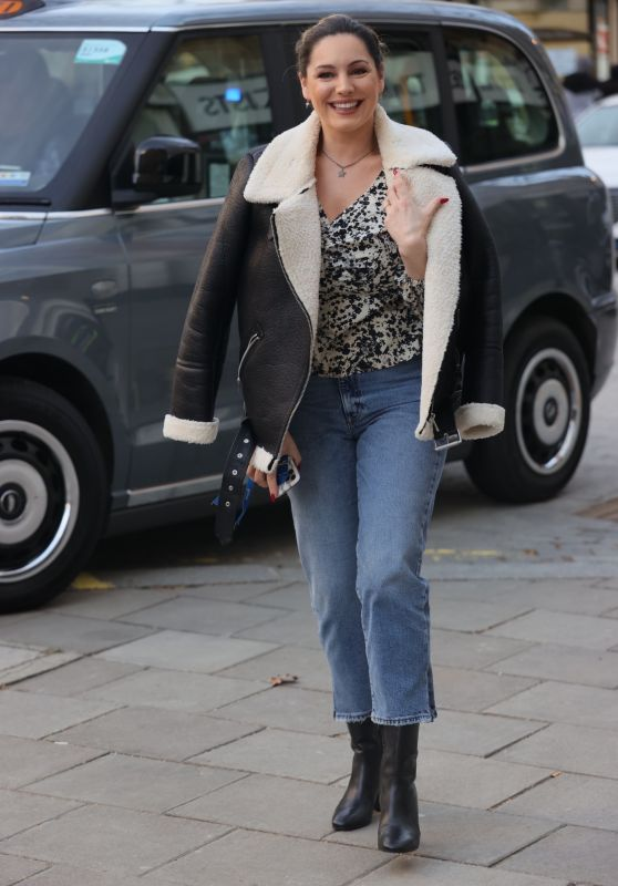 Kelly Brook in Denim and Floral Blouse - London 02/23/2021