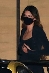 Kendall Jenner in a Navy Blue Gown at Nobu in Malibu 02/09/2021