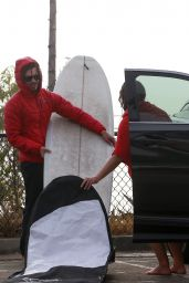 Leighton Meester and Adam Brody - Surfing in Malibu 02/25/2021