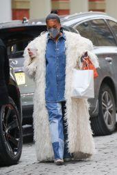 Lori Harvey in a White Fur Coat - Shopping in SoHo, NY 02/15/2021