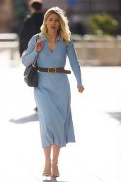 Mollie King in a Sky Blue Dress - London 02/26/2021