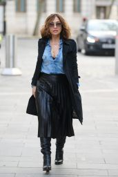 Myleene Klass in a Black Dress and Trench Coat 02/04/2021