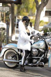 Nicollette Sheridan - Driving a Harley Davidson Around Calabasas 02/16/2021