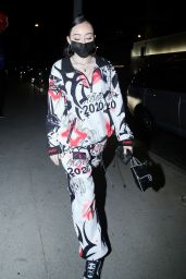 Noah Cyrus in Matching Graffiti Style Sweatsuit at BOA Steakhouse in West Hollywood 02/26/2021