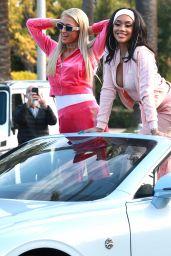 Paris Hilton and Saweetie in Saweetie's Baby Blue Icy Girl Bentley 02/09/2021