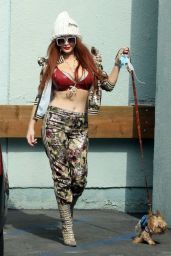 Phoebe Price in a Camouflage Outfit in Los Angeles 02/10/2021