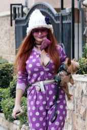 Phoebe Price in a Polka Dot Jumpsuit - Los Angeles 02/09/2021