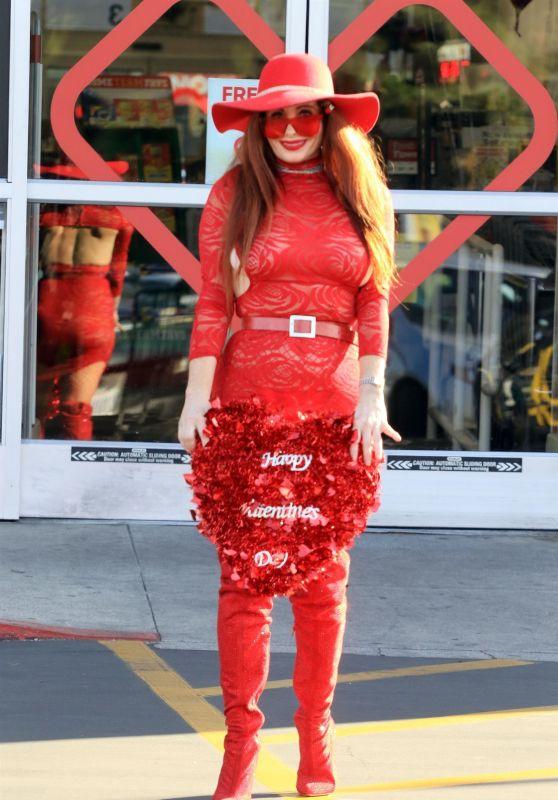 Phoebe Price in All Red at CVS Pharmacy in LA 02/12/2021