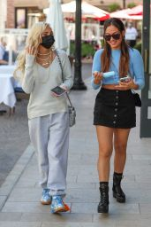 Pia Mia and Inanna Sarkis at 208 Rodeo Restaurant in Beverly Hills 02/18/2021