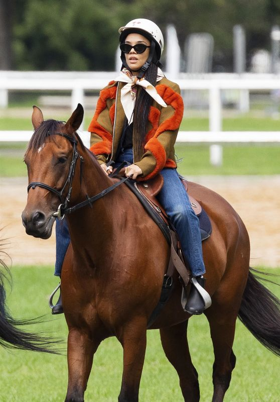 Tessa Thompson - Horse Riding in Centennial Park in Sydney 02/03/2021