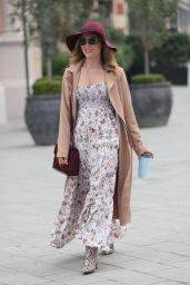Zoe Hardman Looks Chic in summer Dress a Print Boots and Burgundy Hat