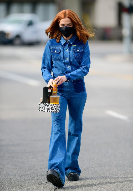 Zoey Deutch in Denim Outfit - Los Angeles 02/09/2021