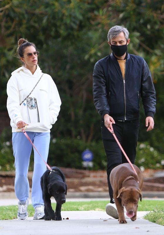 Alessandra Ambrosio and Milan Blagojevic - Stroll in Santa Monica 03/18/2021