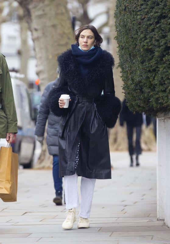 Alexa Chung a Leather Coat With Elaborate Fur Trim - London 03/12/2021