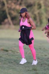 Alexandra Burke in Pink Lycra Leggings - North London 03/10/2021