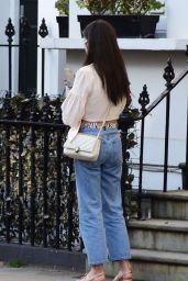 Amy Jackson in White Blouse Top and Jeans - Chelsea 03/30/2021