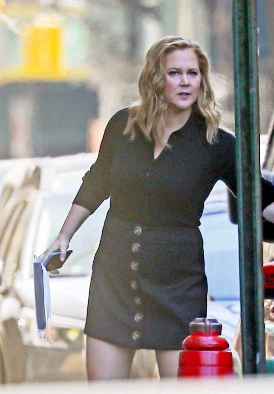 Amy Schumer in Short Black Button-Down Dress - Manhattan 03/30/2021