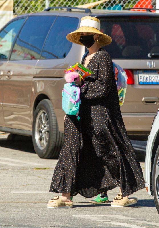 Ashlee Simpson Wearing Long Dress and Straw Hat - LA 03/01/2021