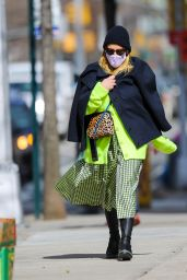 Busy Philipps in a Neon Green Cardigan With Matching Skirt - New York 03/04/2021