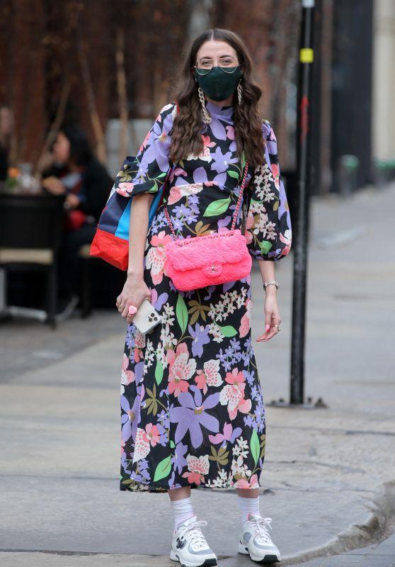 Caroline Vazzana in a Neon Floral Dress - New York 03/11/2021
