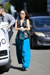 Christine Chiu in a Leather Vest and Blue Bottoms at The Ivy in LA 03/01/2021