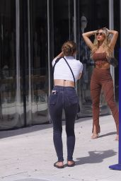 Cindy Prado in a Brown Outfit - Photoshoot in Design District in Miami 03/10/2021