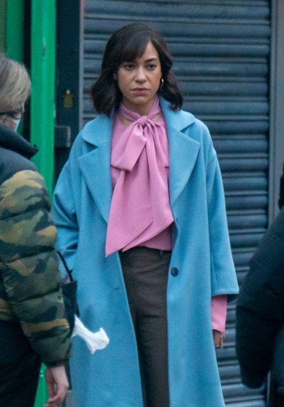 Cush Jumbo - Filming New Netflix Drama in Manchester 03/03/2021