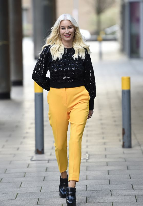 Denise Van Outen in Bright Mustard Yellow Pants and a Black Jumper - Leeds 03/15/2021