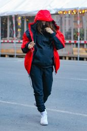 Emily Ratajkowski in a Red North Face Jacket - New York 03/04/2021