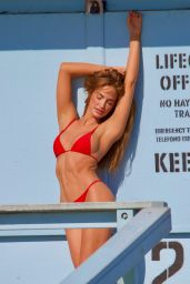 Haley Kalil in a Red Bikini - Photoshoot in Malibu 03/16/2021