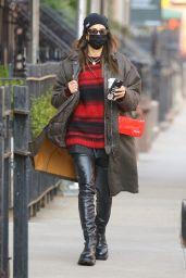 Irina Shayk in Knee-High Leather Boots - New York 03/10/2021