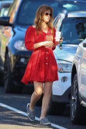 Isla Fisher in a Red Dress in Sydney 03/28/2021