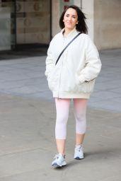Janette Manrara in Cream Lycra Leggings and Jacket 03/22/2021