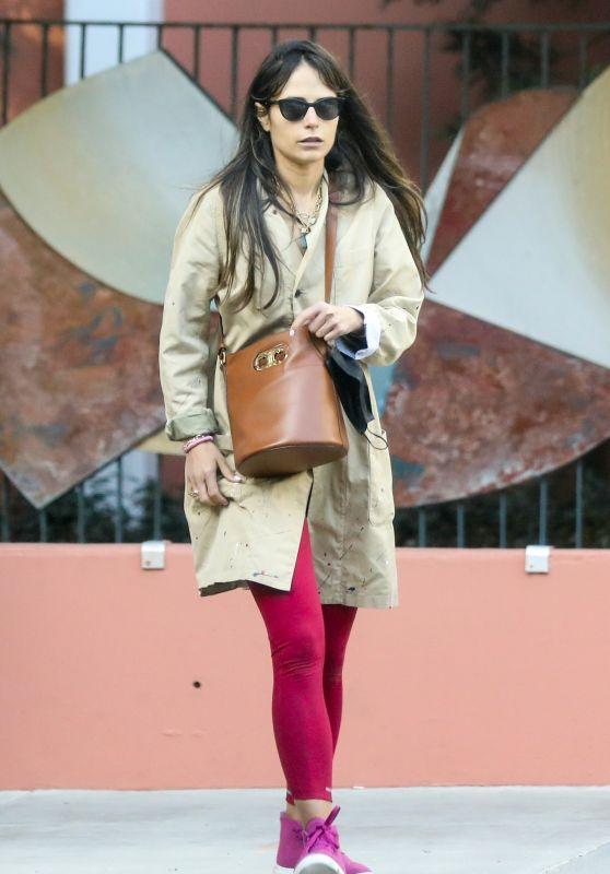 Jordana Brewster in a Red Leggings and a Beige Coat 03/23/2021