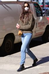 Katie Holmes in a Dark Green Sweater and Jeans - Shopping in NYC 03/14/2021