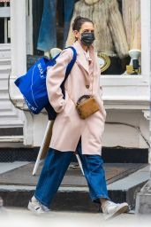 Katie Holmes in a Dust Pink Coat - Shops at Ritual Vintage in NYC 03/06/2021