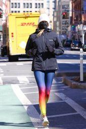 Kelly Bensimon in Colorful Spandex - Jog around Manhattan's Downtown Area 03/02/2021