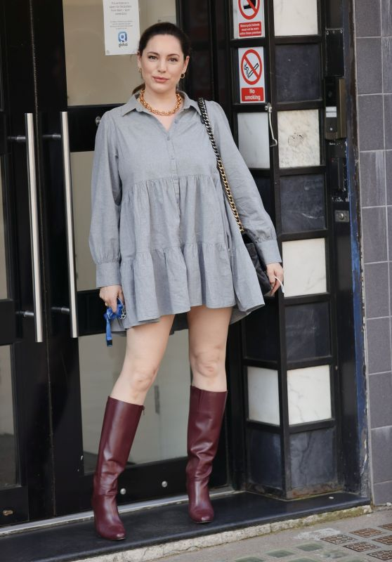 Kelly Brook in Floaty Minidress and Burgundy Knee High Boots 03/23/2021