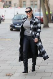 Kelly Brook in Leathers and Checkered Coat  03/02/2021