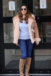 Kelly Brook in Suede Boots and a Leather Jacket 03/08/2021