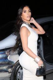 Kim Kardashian in a White Dress - Arrives at Dinner in LA 03/14/2021
