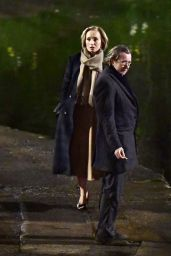 """Kristin Scott Thomas - Filming New Apple TV Show """"Slow Horses"""" at Regents Canal in North London 03/24/2021"""